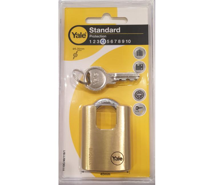 00000149LAK - LAKAT 40-es SR-3K YALE - 3 kulcs kengyel anyaga edzett acél tömör sárgaréz ház, kengyelvédővel kültéri bliszteres
