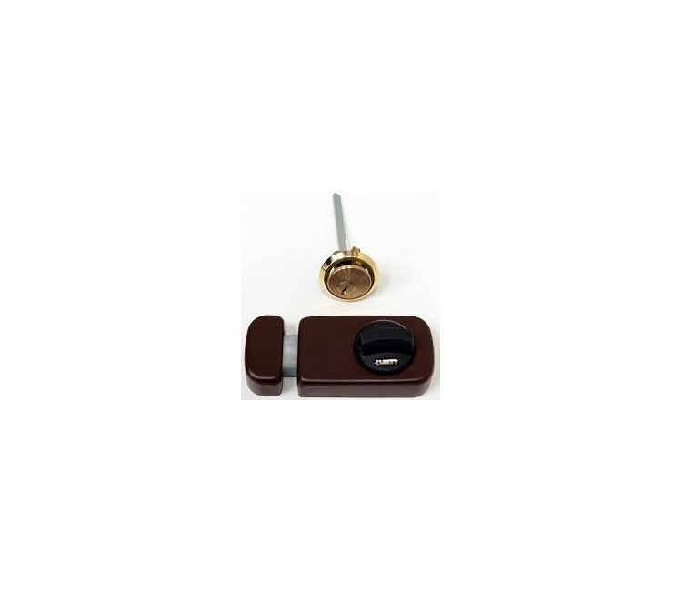 01.00000.03 - ZÁR 785/40 GOMBOS FELSŐ BIZT.RÁF.BARNA - Másodlagos biztonsági zár betéttel és 3 kulcsal. Belső reszen fordító retesz, kívül kulcsos.