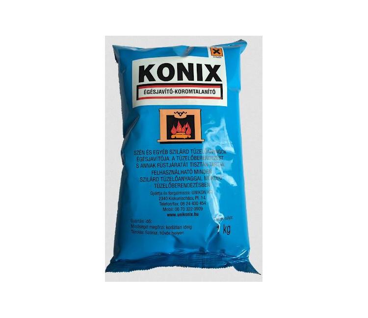 2.35 - KÁLYHA KOROMTALANITÓ /KONIX/ 1KG - Termék leírás<br>Egyéb szilárd tüzelőanyagok égését javítója. A tüzelőberendezést és  annak füstjáratát tisztán tartja. Felhasználható minden szilárd  tüzelőanyaggal működő tüzelőberendezésben.<br> Használati utasítás: Széntüzelésű kályhák esetén izzó parázsra rászórva  minimum 5-8 dkg / 10 kg vagy felülről történő begyújtás esetén a szénhez  keverve. Fatüzelés esetén izzó parázsra rászórva minimum 8-10 dkg / 10  kg. Szennyezett tüzelőberendezés esetén javasolt az adalékanyag  mennyiségének növelése. A lerakódások fellazulása már 4-5 nap után  észlelhető.