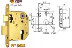 ZÁR EU-ELZ.3436 LŐV CIL.2 NYELV  G537A51000  Az   N°3436   hengerzárbetétes   biztonsági   bevéső,   váltó   vagy  váltó   nélküli épületzár bejárati ajtók rögzítésére és bezárására alkalmas. Biztonsági fokozat: 4 (MSZ 528-78). A zár 20-25 kg/m2 ajtó számára alkalmas. Műszaki feltételek száma: MF 184. A   csapda   átállításához   a   rajta   lévő   csavart   kicsavarjuk   (benyomott csapda álláskor). Ezt követően a csapdafejet kivesszük a zártestből, majd fordítva visszahelyezzük. Ha készen vagyunk, a csavart visszacsavarjuk.