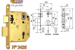 ZÁR EU-ELZ.3435 LŐV.1 KULCS 2 NYEL  G537A61000  Az N°3435 váltó nélküli, normál bevésőzár átmeneti épületajtók rögzítésére ésbezárására alkalmas. Biztonsági fokozat: 2 (MSZ 528-78). A zár 20-25 kg/m2 ajtó számára alkalmas. Műszaki feltételek száma: MF 184. A csapda átállításához a rajta lévő csavart kicsavarjuk (benyomott csapda-álláskor). Ezt követően a csapdafejet kivesszük a zártestből, majd fordítva visszahelyezzük. Ha készen vagyunk, a csavart visszacsavarjuk.