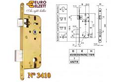 ZÁR EU-ELZ.3410F SARK. EL.2K  G539A118S0   Az N°3410-F fogazott kulcsos, váltós, kétcsukású bevéső épületzár lakások, épületek ajtóinak rögzítésére és bezárására alkalmas. A zár maximum 60 kg tömegű ajtószárny számára alkalmas.