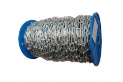 LÁNC LAPOS DOBON ZN   4,0X32   70m/tekercs  KG.4032Ddd  Laposszemű horganyzott lánc műanyag dobon 70  méter/ tekercs.
